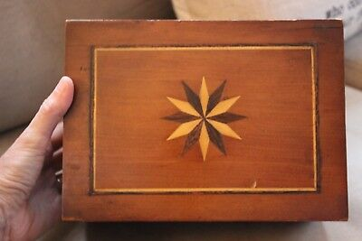 Lovely 19C Figured Walnut Inlaid Antique Wooden Box Lined In Velvet With Mirror