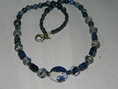 Lovely Carved Lapis Lazuli Rose Pendant Swirled Foiled Art Glass Necklace 1B 30