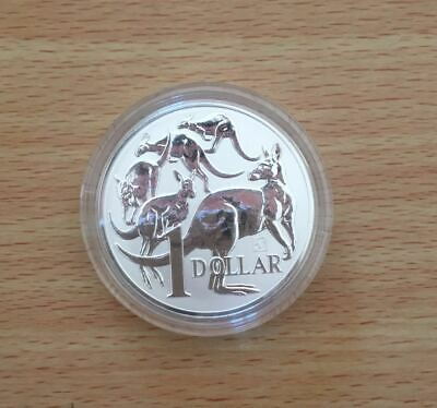 2019 $1 Mob of Roos with Merlion Privy 1oz Silver Bullion Coin in capsule by RAM