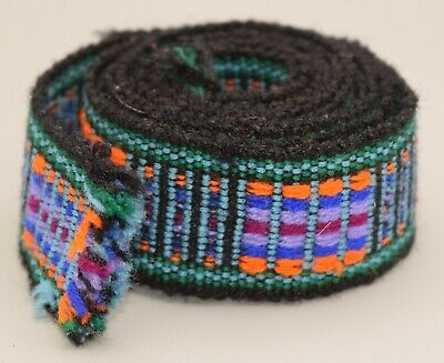 Hand Woven Embrodered Belt Sash Textile Antique Vintage Fabric Hand Loomed Strap