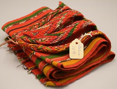 Hand Woven Bolivian Belt Sash Textile Antique Vintage Fabric Hand Loomed Strap