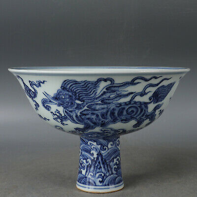Nice Old Chinese Ming Blue White Porcelain Morse High foot cup