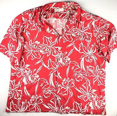 3488b953 Hilo Hattie Men's 5XL Red Floral Vintage 70s Short Sleeve Hawaiian Aloha  Shirt