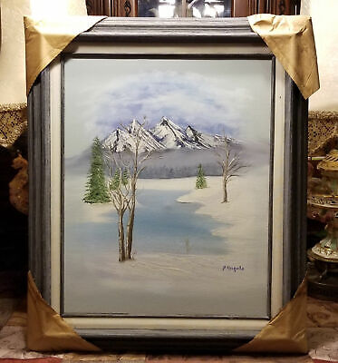 Winter Lake Landscape Scene Oil on Canvas Painting Signed Angelo Wood Framed