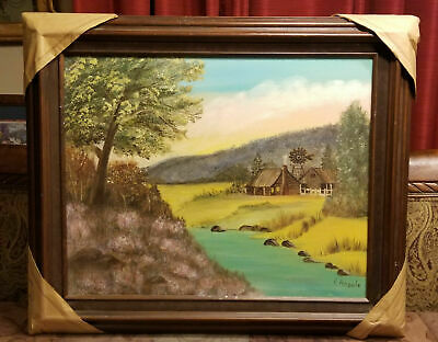 """Farm Landscape Scene Oil on Canvas Painting Signed Angelo Wood Frame 25"""" x 21"""""""