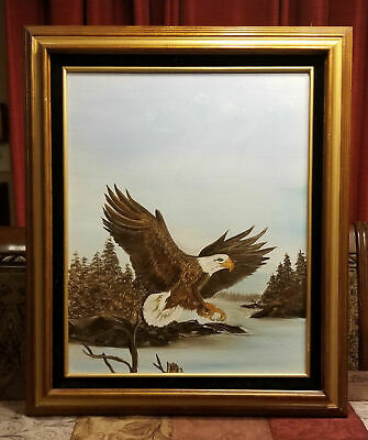 """Eagle in Flight Oil on Canvas Painting Signed Angelo Wood Frame 25"""" x 21"""""""