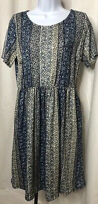 0ca561c1bafad Honey & Lace Piphany Windsor Blue Cream Print Dress Large NWT Capsule  POCKETS