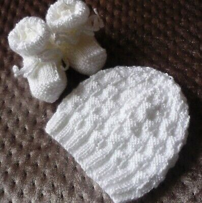 Beanie & Booties Set. White. Hand-knitted by me. BOY OR GIRL. Soft and Cozy.