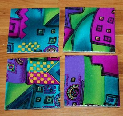 Colorful abstract print ceramic tile drink coasters coffee table decor Handmade