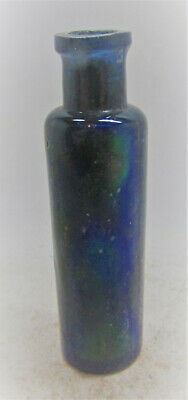 Circa 100-300Ad Ancient Roman Iridescent Glass Cosmetics Or Medicine Vial