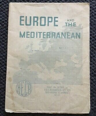 H.E.C Robinson 1940's Map Europe And The Mediterranean Including Military Info