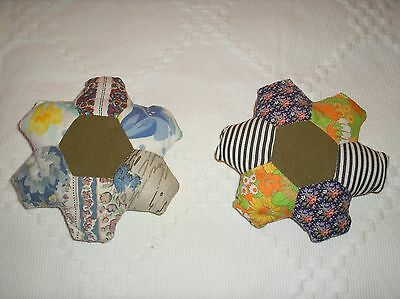 Two Hand Made Vintage Fabric Patchwork Pin Cushions