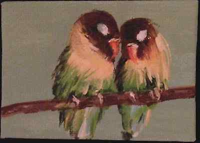 Lovebirds~Aceo Acrylic Painting~ Signed By Artist
