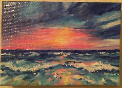 Aceo Acrylic Painting~California Sunset/Seascape~Artist~Marina Del Rey~Original