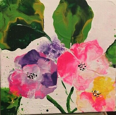 Acrylic Painting Original~ Lovely Flowers~Artist~Marina Del Rey