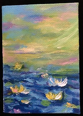 Aceo Art ~ Acrylic Painting By Artist ~ Waterlilies 2 ~(2.5X3.5) Art Card