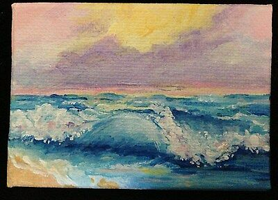 Aceo Acrylic Painting California Seascape