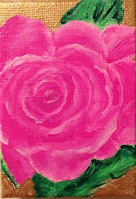ACEO~PINK ROSE~ Original Acrylic Painting
