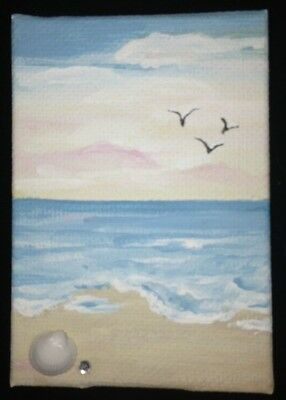 Beachy ~Aceo~Original Acrylic Painting By Artist~Marina Del Rey Ca