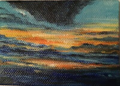 Aceo Acrylic Painting~ Sunset/Seascape~Artist~Marina Del Rey~Original
