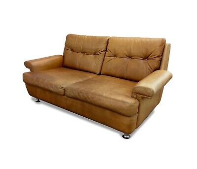 Vintage Retro Danish Two Seater Leather Sofa