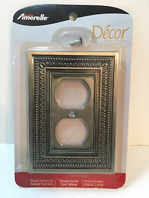 Amerelle Antique Nickel Cast Metal Outlet Switch Plate-New