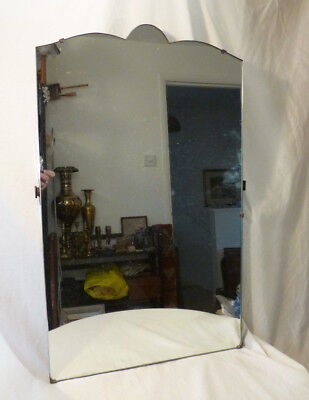"""Vintage Art Deco Arched Scallop Top Silvered Mirror from Old Dressing Table 28"""""""