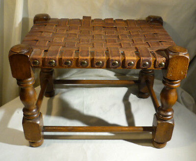 """Vintage Oak Wood Stool Leather Woven Strap Seat Brass Studs Low Small Chair 9"""""""