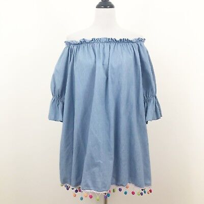Saks Fifth Avenue Chambray Pom Pom Off the Shoulder Dress Size Small Oversized