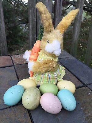 "Vintage 10"" Pier 1 One Imports RABBIT BUNNY DOLL in Plaid Jumper & 7 Eggs ❤️j8"
