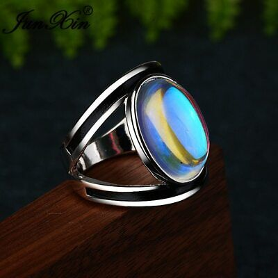 Antique Handmade Very Rare Rainbow Stone Ring Deco Art Jewelry Multicolor