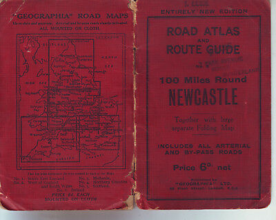 Newcastle Road Atlas & Route Guide,J Luke Mounted On Cloth 100 Miles Around Vgc