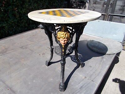 pub table garden house man cave barnfind vintage cast iron very pretty chess top