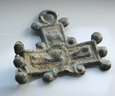CROSS BYZANTINE Bronze Pendant Christian Artifact