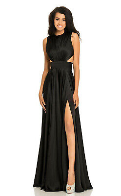 5517f4242894 NWT Johnathan Kayne 8072 Black Open Back Cut-Out Evening Formal Prom Gown  Sz 6