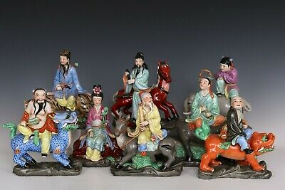Chinese Beautiful Famille Rose Porcelain Eight Immortals Statues