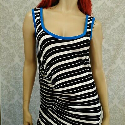 Calvin Klein Womens 12 Maxi Dress Sleeveless Striped Stretch Ruched Black White