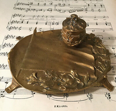 Rare Antique French Art Nouveau Bronze Ink Well Leaves Flag Signed Cuzin c1900