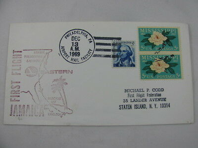 FFC First Flight Cover USA Jamaica Eastern Water Lily Philadelphia Kingston 1969