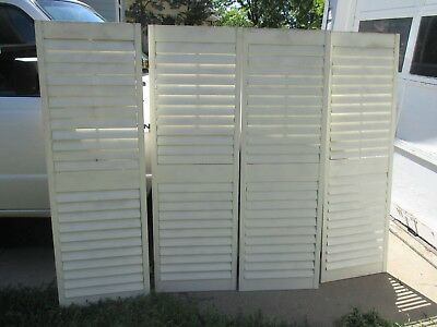 "4 Louvered House Door Window Shutters White 56 1/4"" h x 18 1/8"" w"