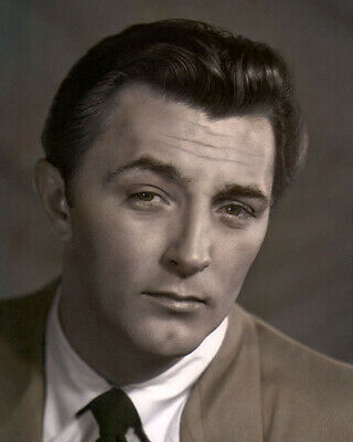 """ROBERT MITCHUM HOLLYWOOD MOVIE STAR ACTOR brwn 8x10"""" HAND COLOR TINTED PHOTO"""
