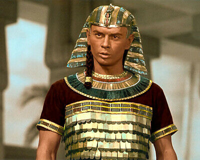 "YUL BRYNNER THE TEN COMMANDMENTS 1956 ACTOR 8x10"" HAND COLOR TINTED PHOTOGRAPH"