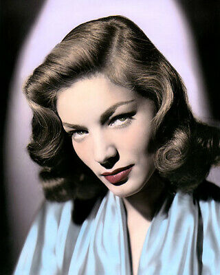 """LAUREN BACALL HOLLYWOOD ACTRESS MOVIE STAR 2 8x10"""" HAND COLOR TINTED PHOTOGRAPH"""