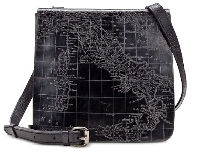 NWT PATRICIA NASH Granada Black Pewter Map Print Leather Crossbody Handbag $149