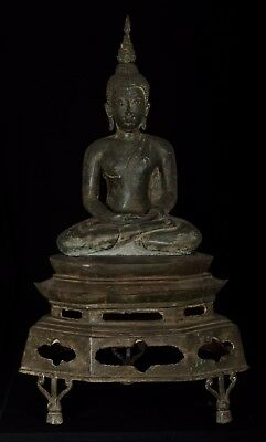 19th Century Antique Thai Sukhothai Meditation Buddha Statue - 105cm/42""