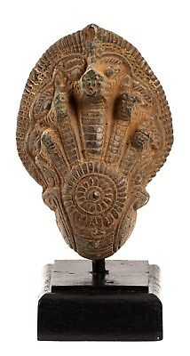 """Antique Khmer Style Bronze Mounted Protection Naga Statue - 17cm/7"""""""