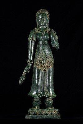 Antique Khmer Style Bronze Banteay Srei style Standing Apsara or Angel -69cm/28""