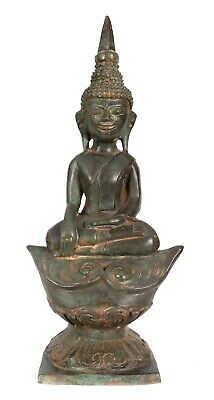 """Antique Laos Style Seated Enlightenment Buddha Statue - 34cm/14"""""""