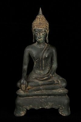 Antique 19th Century Seated Ayutthaya Enlightenment Buddha Statue - 33cm/13""