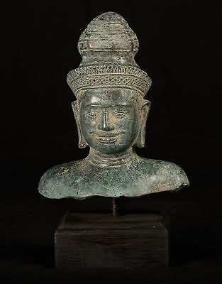 Antique Indian Style Bronze Vishnu Head Statue - Protector & Preserver -25cm/10""